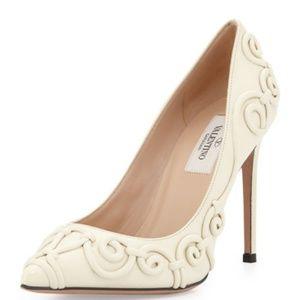 Valentino Ivory LeatherSwirl Pointed Toe Pumps 9.5